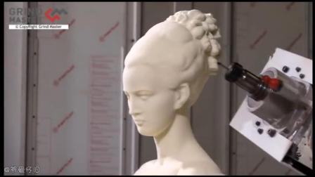 高精度数码雕刻机将一块汉白玉雕刻成精美的美女头像