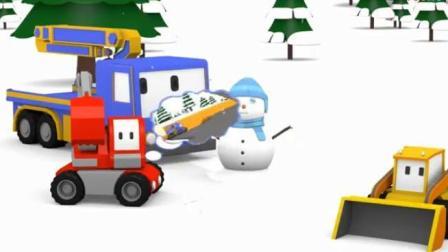 迷你卡车乐园 欢乐圣诞节 挖掘机推土机起重机堆雪人滑雪拆圣诞礼物