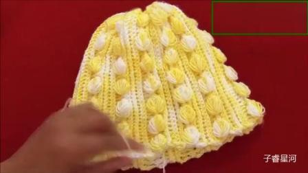 钩针编织漂亮的小树叶花样宝宝帽子, 清新又可爱