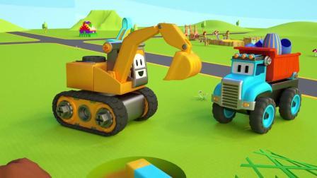 小汽车儿童动画英文儿歌幼儿教育系列《九》挖挖机