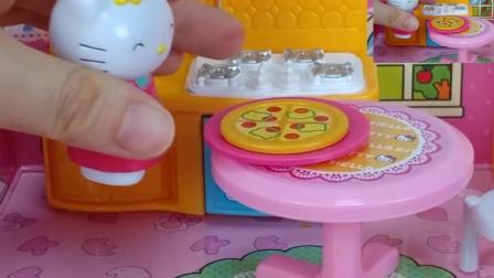 凯蒂猫请小兔子来家里吃披萨, 小朋友们也来一起吃吧