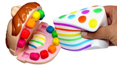 寓教于乐! 用培乐多彩泥做彩虹蛋糕, 大嘴巴先生一口就能吃完吗?