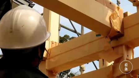 日本房子都是木质的, 看看是怎么建造的, 这么粗的骨架怪不得抗震