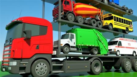 双层大货车帮助工程车小汽车玩具到达目的地