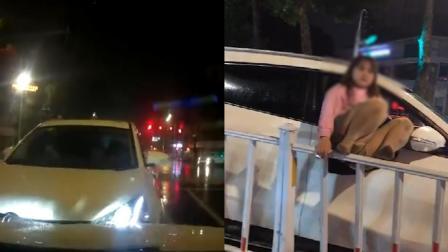 广东汕头一对情侣疑酒驾逆行撞车 女子还行为激动、胡言乱语