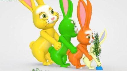 兔子家族蔬菜地欢天喜地拔萝卜拔不起来? 早教动画