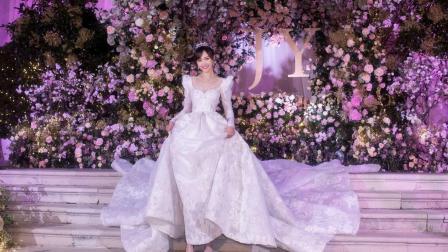唐嫣再曝婚纱照, 4米裙摆亲自参与耗时5000小时, 名副其实童话公主