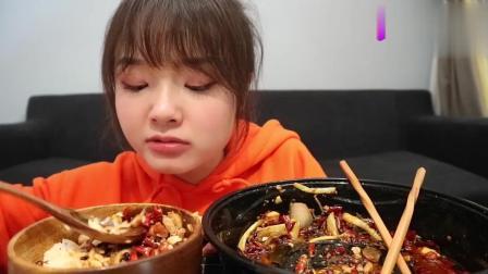 哎哟阿尤上海吃播, 吃麻椒冒菜+肥牛, 超辣!