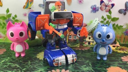 快乐宝贝熊出没玩具 迷你特工队玩具拆箱光头强机甲熊熊变形车
