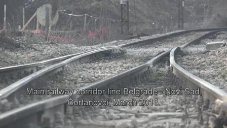铁路运输4K 塞尔维亚铁路的最佳版本 飞溅的钢轨接头
