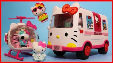 凯蒂猫救护车和急救直升飞机的玩具故事