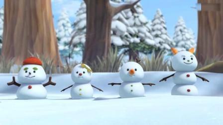 萌鸡小队:麦奇做梦,梦见了雪人和他一起打雪仗一起玩!