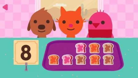 10块面包三只小动物怎么分? 儿童早教动画 火车上的萝卜菠萝拼图