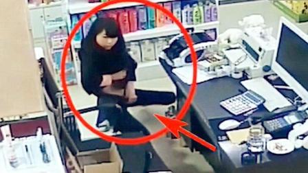 漂亮妹子在超市左右晃动, 假如没监控, 都不知发生了什么!