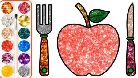 新鲜的苹果配上水果切刀和叉子绘画学颜色 做水果拼盘简笔画