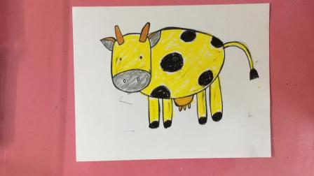 简单几笔就画了一只奶牛, 这是最简单的画画了!