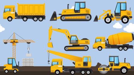 建筑工地上的挖掘机推土车土方车吊车亚路车 认识各种工程车