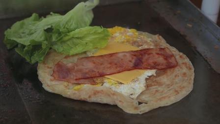 上海美食三明治, 有鸡蛋, 培根, 青菜, 火腿, 外地是吃不到的