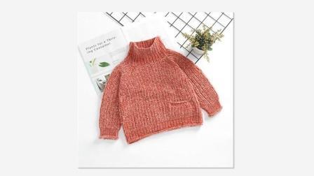 从上往下织的休闲百搭成人儿童高领毛衣编织视频教程