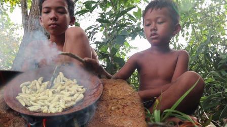 在农村, 这种虫子蛋白质超高, 男孩和哥哥一起烤着吃, 太香了