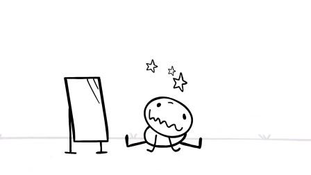 铅笔漫画: 敌不过镜子中的自己, 被气球带上天!