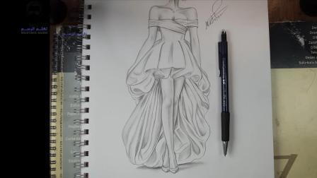 服装设计课程, 快速画一个穿礼服的模特
