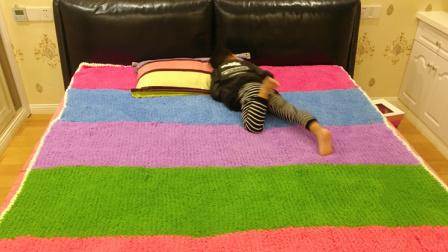 手编彩虹毛毯盖毯地垫编织教程