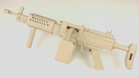 他用硬纸板制作冲锋枪, 想知道成品用起来是什么效果吗? 有点意外