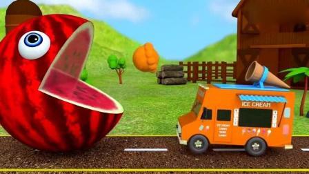 西瓜大嘴怪吃不同颜色的冰淇淋 幼儿色彩启蒙