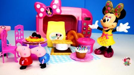 儿童厨具套装玩具米老鼠做披萨饼奶油蛋糕请小猪猪吃玩游戏过家家, 儿童玩具车, 亲子互动