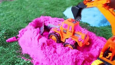 挖掘机探索彩色太空沙玩具惊喜
