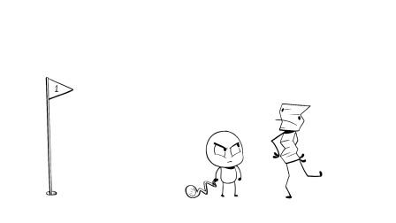 铅笔漫画: 不会玩高尔夫球的铅笔人!