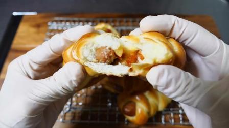 小杰搬运 美食 美味 料理 制作 肉食 编花香肠长面包