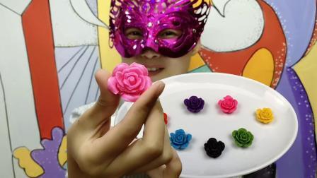 美女吃七彩小巧的玫瑰花巧克力, 吐露芬芳果香, 你最喜欢哪一个呢