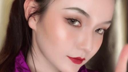 酷女孩欧美妆容, 这个眉毛和大红唇真是太霸气了