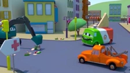 宝宝巴士工程车 披萨餐车刹车失灵 挖掘机和拖车汤姆来帮助