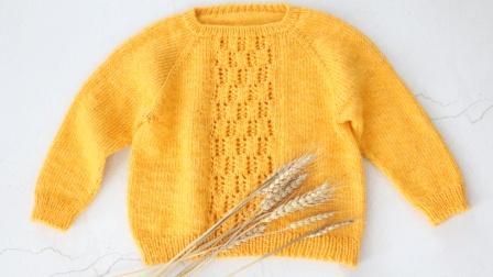 毛儿手作棒针编织宝宝毛衣亲子镂空毛衣新手编织教从下往上织挑领子袖子缝合钩针作品