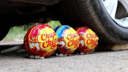 用汽车碾压3根棒棒糖, 棒棒糖会被碾成什么样? 睁大眼睛别眨眼!