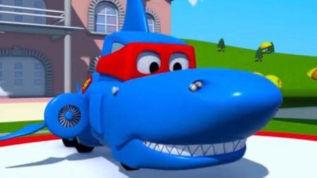汽车总动员之超级卡车: 轮船芭比的锚被卡住了, 卡尔变身鲨鱼潜艇来帮忙