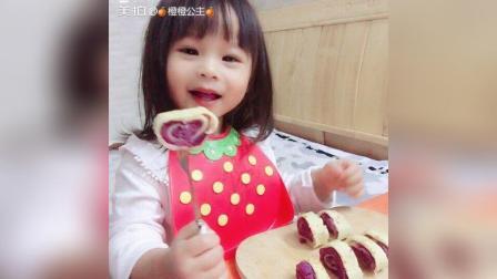 第一次做紫薯蛋饼卷