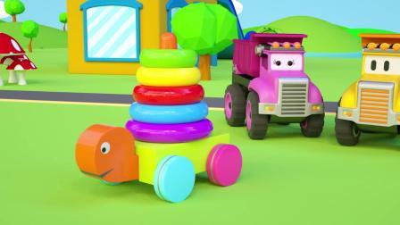 小汽车儿童动画英文儿歌幼儿教育系列《十》运蔬菜
