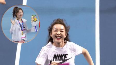 小彩虹徐梦洁喜提短跑金牌一枚, 最后这个笑容也太甜了