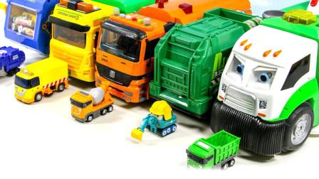 儿童汽车总动员玩具视频:工程车清扫车聚集工作表演