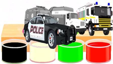 色彩学习 汽车动画 警车 救护车 垃圾车 少儿玩具动画