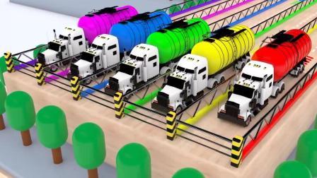 工程车依次往交通汽车插槽注彩色颜料 交通汽车跳进插槽染颜色开过来认颜色