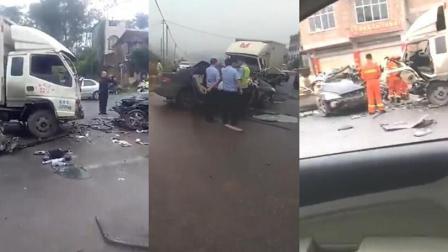 惨烈车祸! 两车相撞致2死3伤车头完全损毁