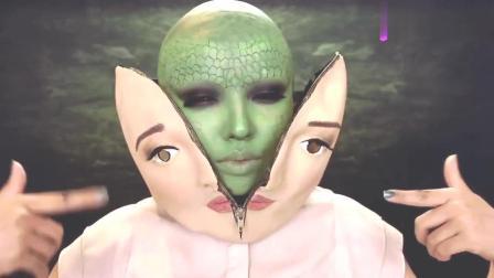 美女挑战可怕特效妆容, 撕下人皮面具变成绿巨人, 好惊悚的妆容啊