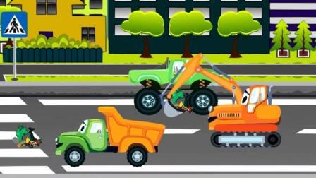 大眼睛卡通工程车 帮助垃圾清理车 儿童休闲益智游戏