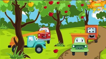 大眼睛卡通工程车 大货车摘苹果被挂在树上 儿童卡通益智游戏