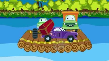 大眼睛卡通工程车 小汽车和大货车装载车海上钓鱼发现宝藏 休闲益智游戏